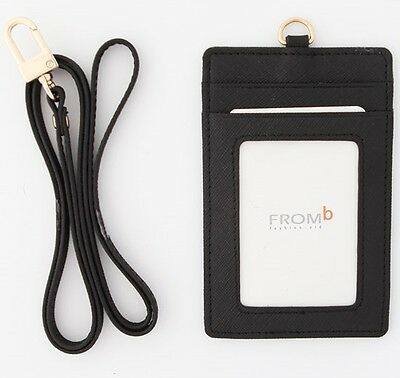 ID Window Leather Card Holder Card Case Badge Necklace Neck Strap Lanyard Black