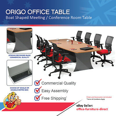 Meeting Office Table Boat Shaped, Boardroom, Conference Tables Beech & Ironstone