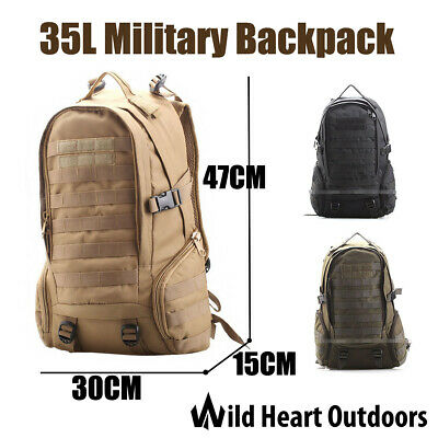 35L Military Backpack Rucksack Army Tactical Bag Water Repellent Hiking Camping