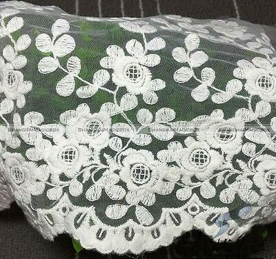 """Lace Trim White Tulle Cotton Flower Embroidery Lace Wedding13.7"""" width S8"""