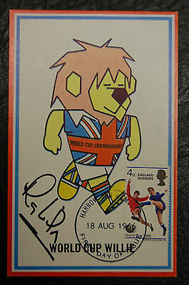 Ray Wilson Signed 1966 England World Cup Willie Original Postcard