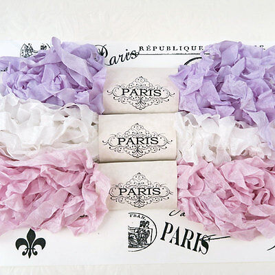 NEW Seam Binding Scrunched Rayon Shabby Ribbon-Lavender - White-Pink-15 YARDS