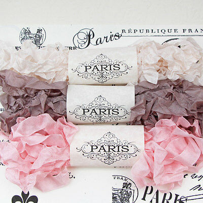NEW Seam Binding Scrunched Rayon Crinkled Shabby Ribbon- Pink -Taupe-15 YARDS
