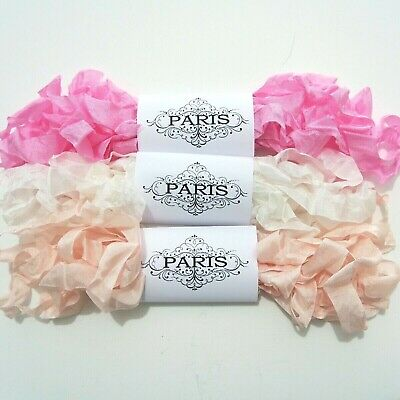 NEW Seam Binding Ribbon-Scrunched Rayon Crinkled Ribbon - Pink -White-15 YARDS