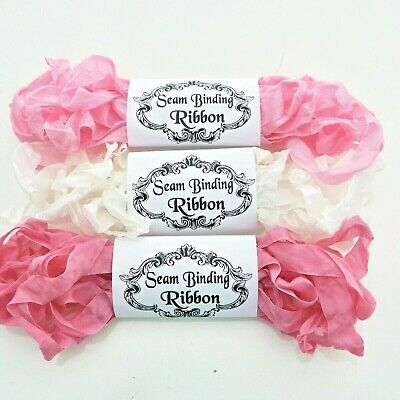 NEW Seam Binding Ribbon-Scrunched Crinkled Rayon Ribbon -Pink -White-15 YARDS