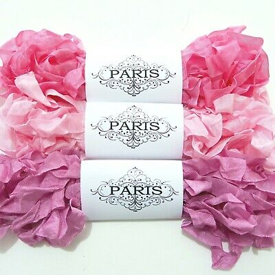 NEW Seam Binding Ribbon-Scrunched Rayon Crinkled Ribbon -Pinks-White-15 YARDS