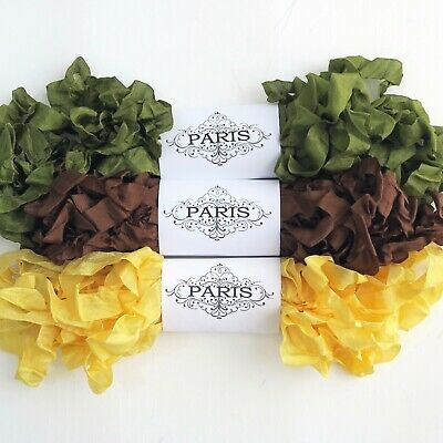 NEW Scrunched Seam Binding- Rayon Shabby Ribbon- Moss Green-Brown-Gold-15 YARDS