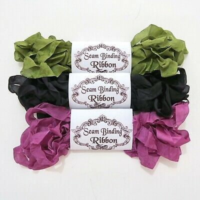 NEW Seam Binding Scrunched Rayon Ribbon -Purple-Black-Olive Green-15 YARDS