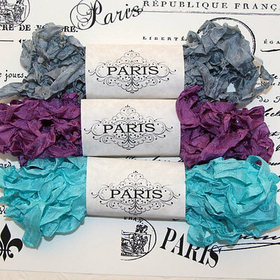 NEW Seam Binding Scrunched Rayon Shabby Ribbon -Silver-Purple-Turquoise-15 YARDS