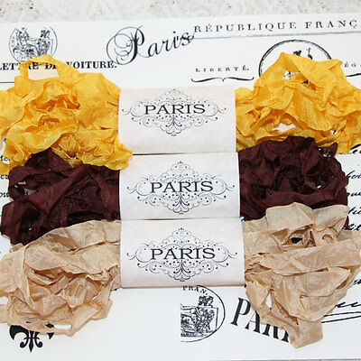 NEW Seam Binding Scrunched Rayon Ribbon -Scrapbooking-Gold-Brown-beige-15 YARDS