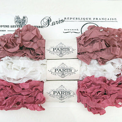 NEW Seam Binding Scrunched Rayon Ribbon-Quilting-Dusty Pink-White-15 YARDS