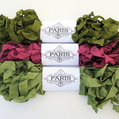 NEW Seam Binding Scrunched Rayon Ribbon-Quilting - Olive Green-Burgundy-15 YARDS