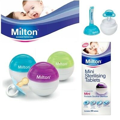 Milton Mini Portable Soother Pacifier Watertight Steriliser 50 Tablets Optional