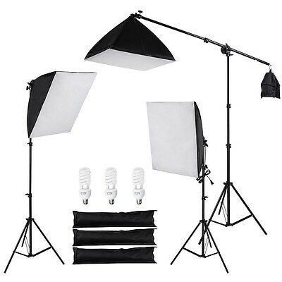 Photo Studio Photography 3 Softbox Boom Light Stand Continuous Lighting Kit