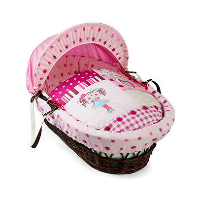 Clair de Lune My Dolly Dark Wicker Moses Basket, Pink