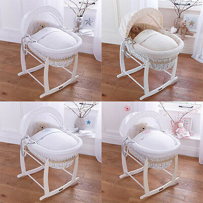 Clair de Lune Stardust White Wicker Moses Basket