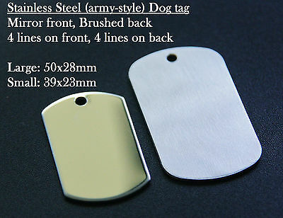 Stainless Steel Army Tags with Free engraving