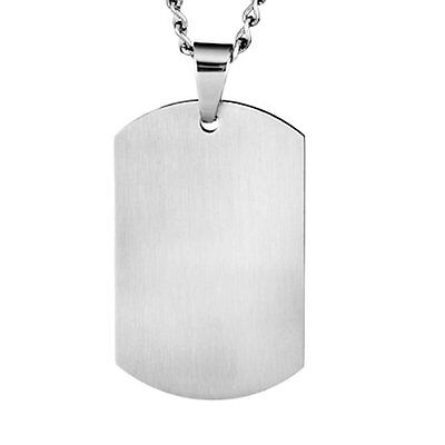 LARGE ARMY DOG TAG  WITH CHAIN - STAINLESS STEEL  - ENGRAVED or PLAIN