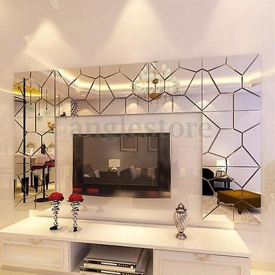 7-70 Sticker Autocollant Miroir DIY 3D Mural Adhésif Art Decor Mur Salon Chambre