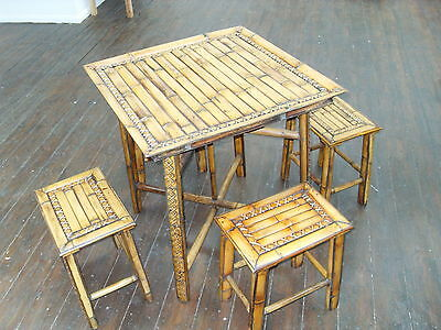 Vintage Bamboo Table And Stools   Superb Quality !