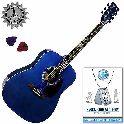 Stretton Payne Full Size Acoustic Guitar Dreadnought Steel String Blue