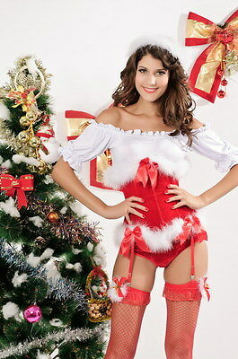 Sexy Women's Santa's Helper Red Christmas Corset Costume Lingerie