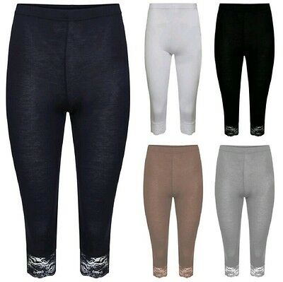 New Womens Cropped 3/4 Knee Length Lace Trim Ladies Jersey Leggings