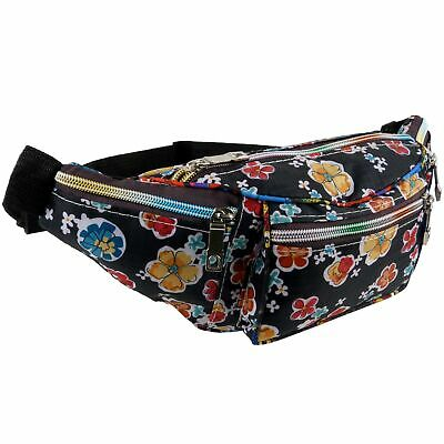 Funky Black Floral Nylon Bum Bag Fanny Pack Rainbow Zips Travel Holiday Security