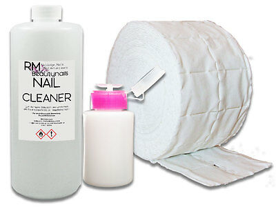 1000ml Nagel Cleaner Entfetter 500 Zelletten Dispender Pumpflasche Nail Set Iso