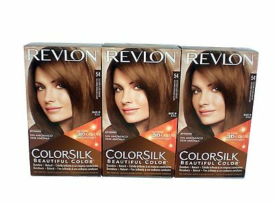 3 x Revlon ColorSilk Beautiful Hair Color Dye 54 Light Golden Brown
