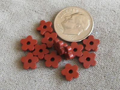 Lot of 12 Antique Glass African Trade Beads Brick Red Flower Spacers 2x7mm