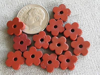 Lot of 12 Antique Glass African Trade Beads Brick Red Flower Spacers 3x10mm