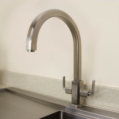 Astini Celeste Brushed Stainless Steel Twin Handle Kitchen Sink Mixer Tap HK75