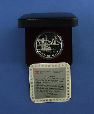 """1991 Canada 0.500 Silver Proof $1 coin """"Frontenac"""" in Case with COA (C331/57)"""