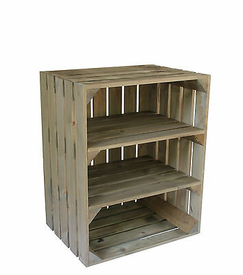 Large Wooden Crate Apple Box Storage Display Unit With 2 Shelfs Vintage Style
