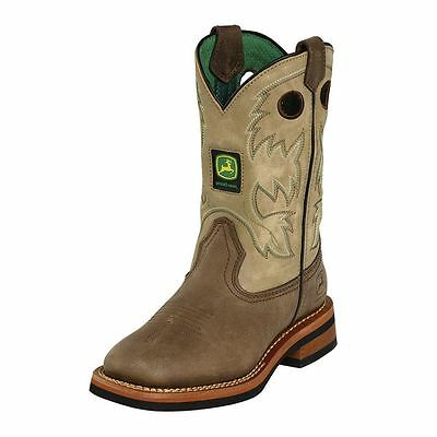John Deere Childrens//Youth Tan and Camo Waterproof Western Boots JD2468//JD3468