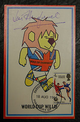 Jimmy Armfield Signed 1966 England World Cup Willie Original Postcard