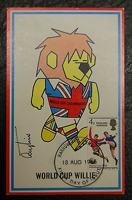 Terry Paine Signed 1966 England World Cup Willie Original Postcard