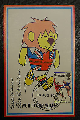 George Eastham Signed 1966 England World Cup Willie Original Postcard