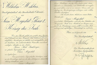 1934 Austria President Wilhelm Miklas Official Letter to King Ghazi I of Iraq