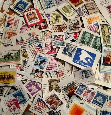 US Lot of 50 Used Postage Stamps On-Paper No Doubles Different Size Issues