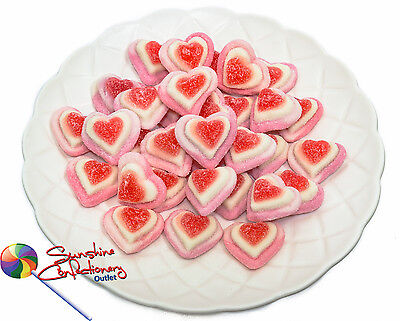 TRIPLE STRAWBERRY HEARTS -1kg - gummi, Gluten Free, Pink and WhitePost Included