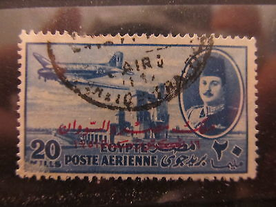 A2P29 EGYPT AIR POST STAMP 1952 OPTD 20m USED #1