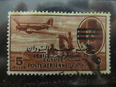 A2P29 EGYPT AIR POST STAMP 1953 TWO OPTD 5m USED #3