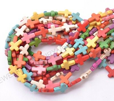 16''1Strand Howlite Turquoise Side Ways Crosses Spacer Bead 15X12MM U PICK Color