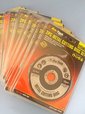 Wholesale 12 Packs of AM-TECH 2 Metal Cutting Disc Sets 115mm