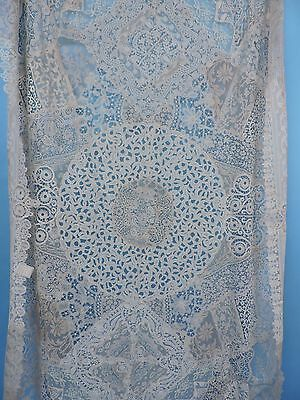 Rare Hand Made 18Th & 19Th C Mixed Lace Table Cloth Floral Motifs