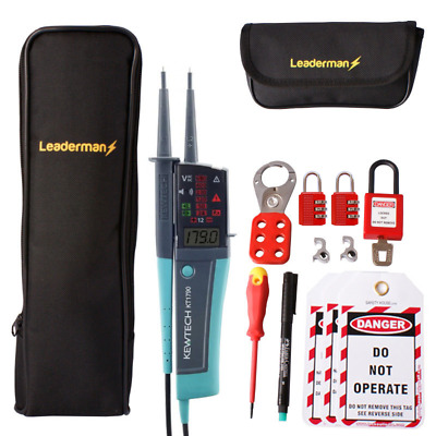 Kewtech KT1790 Voltage & Continuity Tester KIT39, MCB Lock Out Kit LOS-K1 & Case