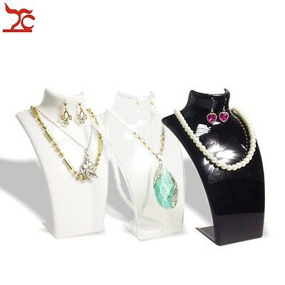 3pcs Acrylic Bust Model Necklace Pendant Stand Holder Jewelry Display Neckform