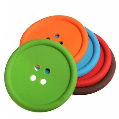 PACK OF 5 Button Silicone Non-Slip Cup Coasters Colourful Place Mats Drinks Cute
